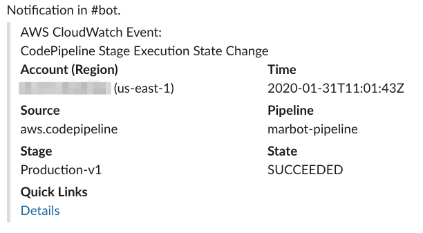 CodePipeline Stage Execution notification