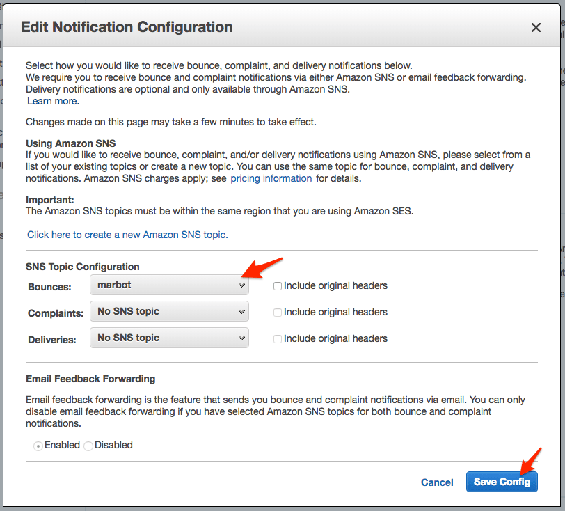 Enabling SES notifications