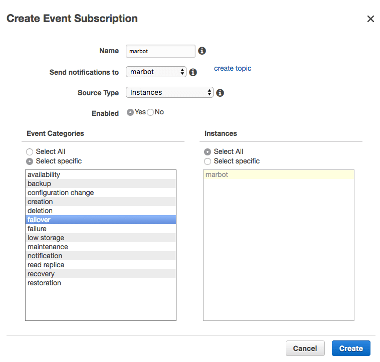 Creating an RDS Event Subscription